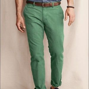 Lands End Canvas Chino Pants Slim Fit Green